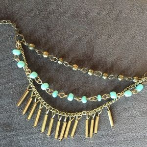 Necklace Beaded Blue and Gold